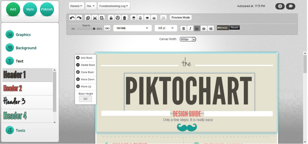 The PiktoChart Interface