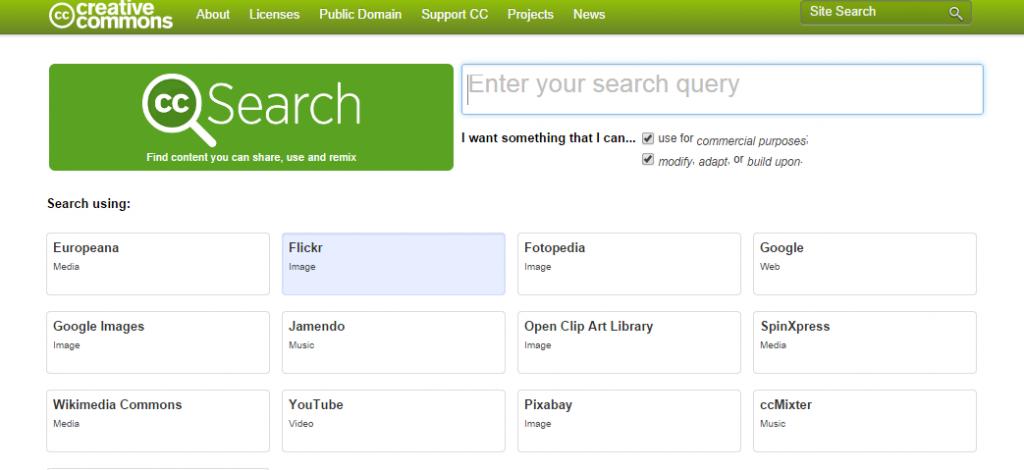 Creative Commons screenshot