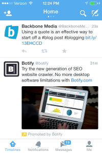 Example of Promoted Tweets: Twitter iPhone App
