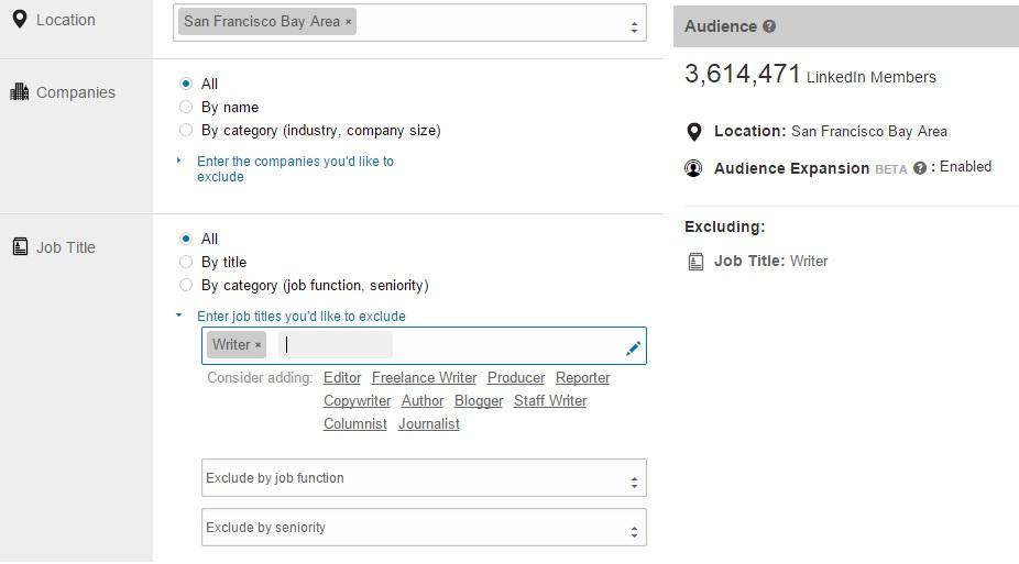 LinkedIn Sponsored Updates Audience Options