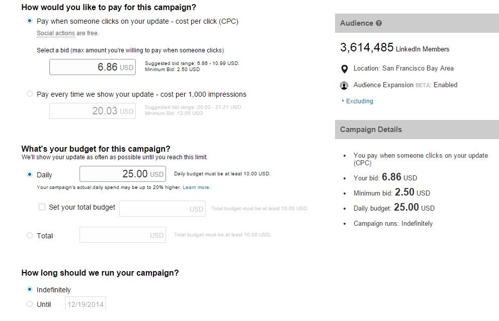 LinkedIn Sponsored Updates Budget Options
